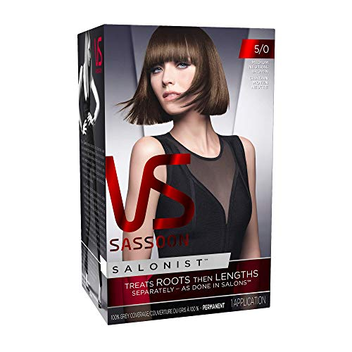 Vidal Sassoon Salonist Permanent Hair Color Kit 5/0 Medium Neutral Brown 1 Application Packaging May Vary