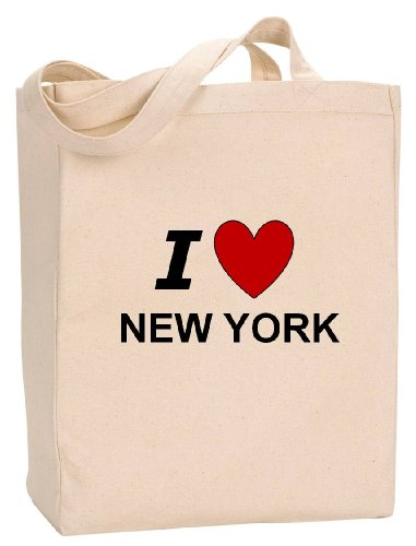 I LOVE NEW YORK - State Series - Natural Canvas Tote Bag with - Ny Shopping Albany
