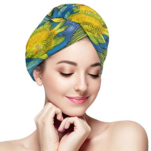 The Reef Tropical Fish Microfiber Hair Towel Wrap With Button Quick Dry Hair Turban For Women Girls