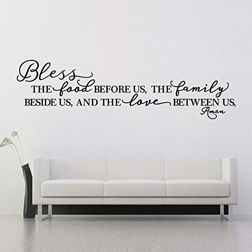 BOLLEPO Kitchen Wall Stickers Home Decor, Dining & Cooking Quote Decal Heart Removable Vinyl Art Decoration (Bless The Food Before Us, The Family Beside Us, and The Love Between Us, Amen) by BOLLEPO (Image #1)