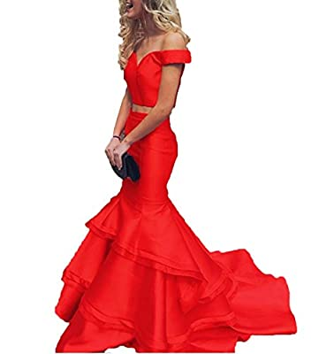 Bonnie Off the Shoulder Satin Prom Dresses 2017 Long Two Piece Sexy Mermaid Ruffled Formal Ball Gown BS042