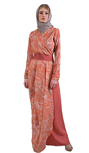 Artizara Sumaira Coral Marble Print Modest Long Sleeve Chiffon Maxi Abaya Dress for - Print Dress Scarf Banded