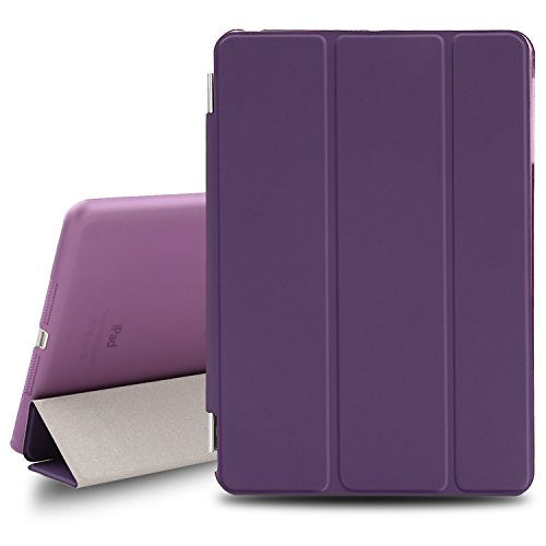 BESDATA Ultra Thin Magnetic Smart Cover for Apple iPad Mini 1st Generation [Wake/Sleep Function] Translucent Back Case + Screen Protector + Cleaning Cloth + Stylus (Purple) (Ipad Mini Case Generation 1)