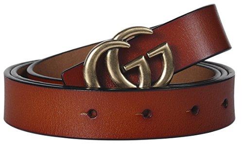 "Fashion Designer Gold G Buckle Very Slim Thin Belt With Tiny Buckle for Women Lady (2.5cm Belt Width/3cm Buckle) (95cm (Waist 27""~33"" or Below), Brown)"