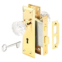 "Defender Security E 2311 Mortise Keyed Lock Set with Glass Knob – Perfect for Replacing Antique Lock Sets and More, Fits 2-3/8"" Doors, Backset (Polished Brass)"