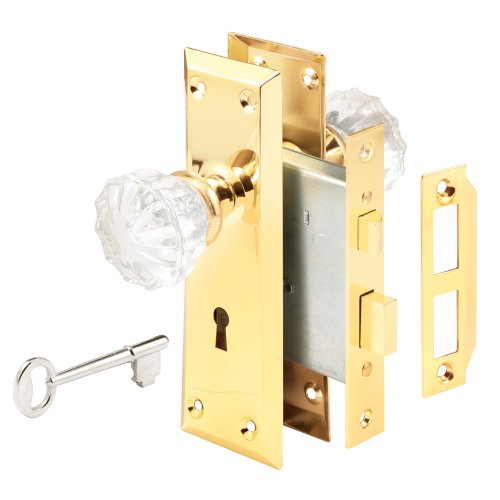 Defender Security E 2311 Mortise Keyed Lock Set with Glass Knob - Perfect for Replacing Antique Lock Sets and More, Fits Doors with 2-3/8