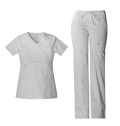 Cherokee Luxe Women's Empire Waist Mock Wrap Top 21701 & Women's Drawstring Cargo Pant 21100 Scrub Set (White - X-Small/X-Small)