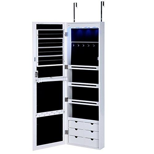 Songmics UJJC98W Lockable Jewelry Cabinet