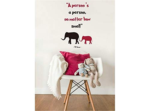 Wall Decal Sticker Art Mural Home Decor Quote Inspirational Quote Dr Seuss A Persons's A Person No Matter How Small for Nursery Kids Room Living Room -