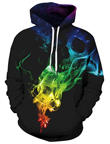 RAISEVERN Adult 90s Long Sleeve Drawstring Flame Smoke Skull Fire Printed Fleece Pullover Hoodie Sweatshirt ()
