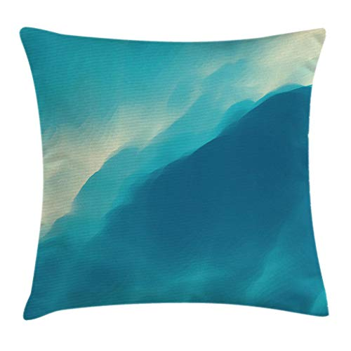 (Ambesonne Modern Throw Pillow Cushion Cover, Oil Artwork Cloud Wave Image with Ombre Seem Colored Contemporary Artwork Print, Decorative Square Accent Pillow Case, 18