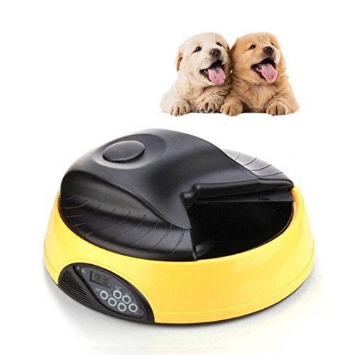 Automatic Pet Feeder for Dogs & Cats, 4 Meal Trays for Dry and Wet Food, Auto Pet Food Dispenser Programmed with Timer and Voice Recording Function, Yellow