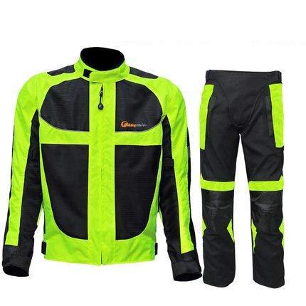 MTFoo Men Motorcycle Jacket + Motorcycle Pants Set Windproof Motorcycle Racing Suit Protective Gear Moto Clothing Jacket & Pants Summer Set XXL