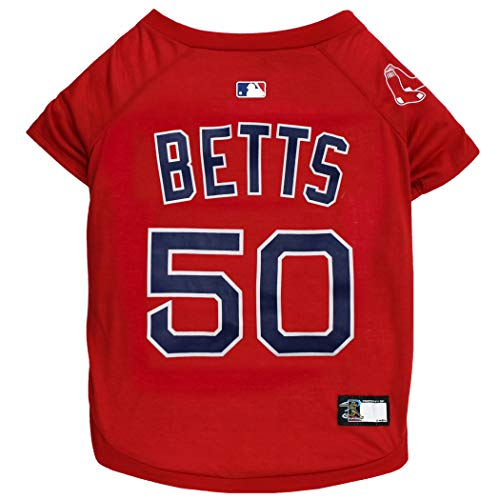 (MLBPA Mookie Betts #50 TEE Shirt for Dogs & Cats. MLB Boston Red Sox Dog T-Shirt, Small   Sports Dress for Pets   Licensed Sporty Dog)