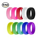 Ztuo 10 pcs Silicone Premium Medical Grade Rubber Wedding Band Comfortable Ring for Active Men Women 6