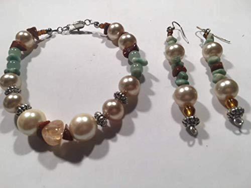 Goldstone Chip Bracelet - Handcrafted Citrine Tumbled Stone Goldstone Jade Chips Faux Pearl Bracelet Earring Set