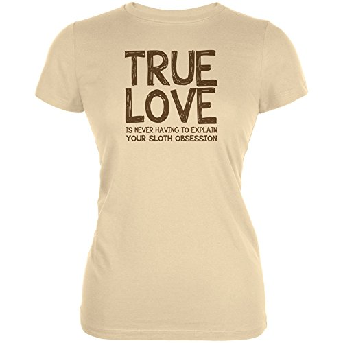 Valentines Day True Love Sloth Cream Juniors Soft T-Shirt - Large - True Love Juniors T-shirt