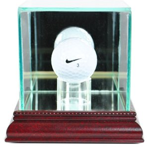 Hole One Display Case (PGA Golf Ball Glass Display Case, Cherry)