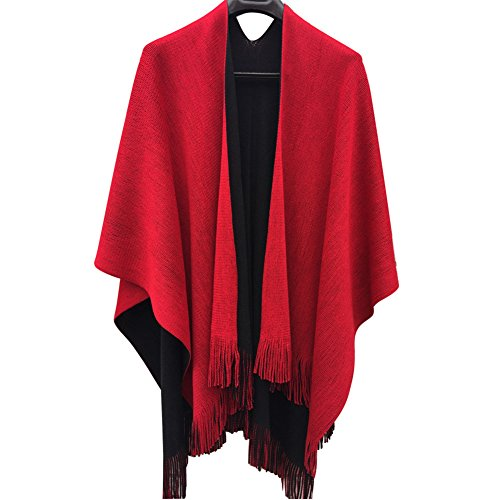 Vipe Women Poncho Cape Reversible Shawl Wrap Tassel Cardigans Sweater Coat (Black & Red) (Wide Collar Cropped Jacket)