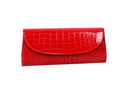 Bundle Monster Womens Envelope Evening Patent Croc Skin Embossed Clutch - RED Red Leather Purse Handbag