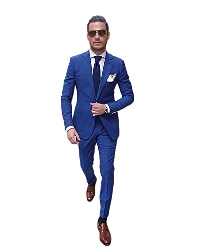 AK Beauty Mens 2 Piece Wedding Groom Suit Formal Business Suit (Jacket+Pants)