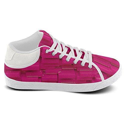 Artsadd Glossy Pink 3d Cubes Chukka Canvas Schoenen Voor Dames (model003)