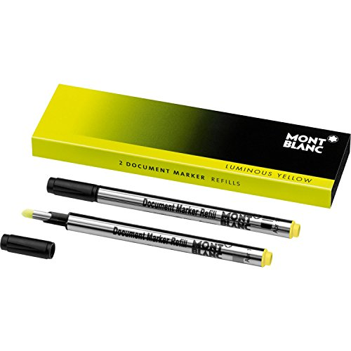 Montblanc Document Marker Refills Luminous Yellow 105168 - Highlighter Refills in Bright Yellow - 2 x Pen Refills