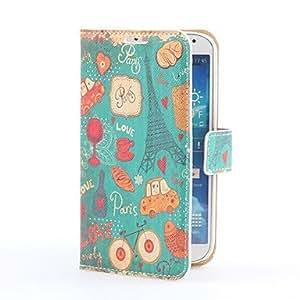 WQQ Funda de cuero iconos azules PU del estilo con ranura para tarjeta y el soporte para i9500 Samsung Galaxy S4