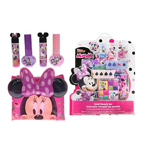 Mozlly Value Pack - Disney Junior Minnie Mouse Bowtique Total Beauty Set and Cosmetics Set - Includes 2 Nail Polishes, 2 Lip Balms and Carrying Case (5pc Set) - Kids Makeup (2 Items)