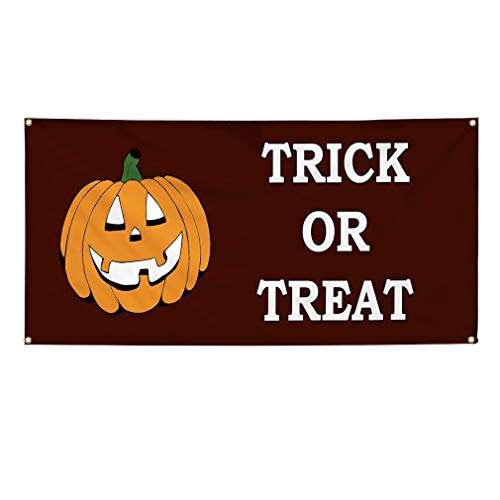 (Vinyl Banner Sign Trick Or Treat Halloween Happy Halloween Marketing Advertising Red - 48inx120in (Multiple Sizes Available), 10 Grommets, Set of)