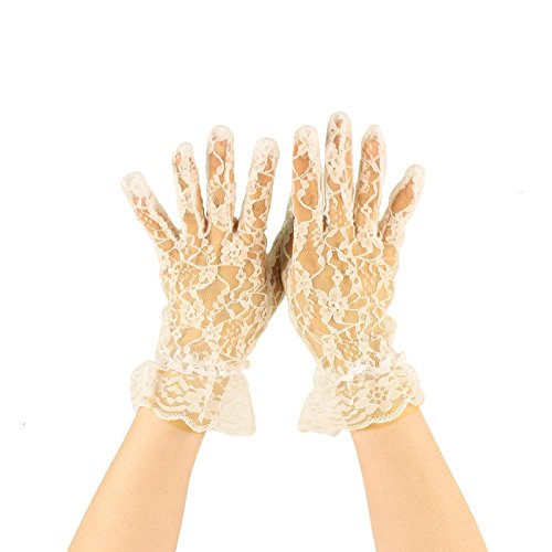 Fancy Floral Sheer Lace Tea Party Vintage Style Ruffle Wrist Dressy Gloves Ivory -