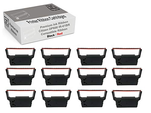 MARS POS Ribbons Compatible with Citizen DP600 Printer Ribbon Citizen IR61BR (Red Black, 12 Pack)