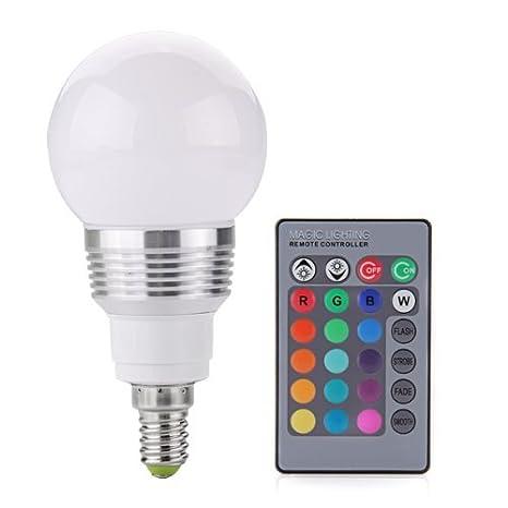 E14 LED RGB foco focos halógenos tipo foco empotrable para techo bombilla 3 W 230 V + mando a distancia: Amazon.es: Iluminación