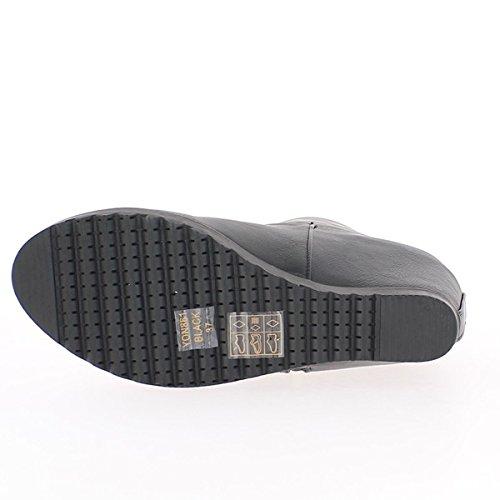 Nero stivali a tacchi di 8cm e spesse suole