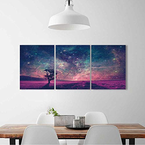 L-QN Frameless Paintings 3 Pieces Painting red alien landscape alone tree silhouette in purple field elements to liven up energize any wall room. W12 x H16 x -