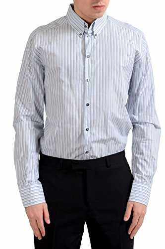 Dolce & Gabbana Martini Men's Striped Long Sleeve Dress Shirt Size US 16 IT 41