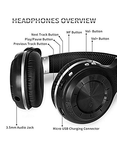 Bluedio T2s Bluetooth Headphones On Ear with Mic, 57mm Driver Rotary Folding Wireless Headset, Wired and Wireless headphones for Cell Phone/ TV/ PC, 40 Hours Play Time (Black)