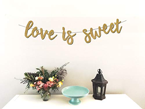 Love is Sweet Banner - Perfect Decoration for Engagement, Wedding, Anniversary, Valentine's Day Party, Bridal Shower - Beautiful Sparkling Gold Cardstock Paper