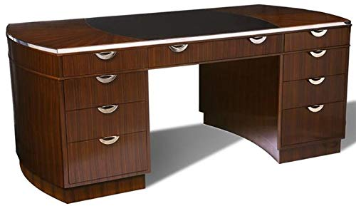 Scarborough House Executive Desk Rosewood Pedestal Polished Steel Leather Inlay ()