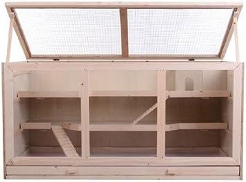 Outsunny Jaula Madera 115x60'5x58cm 3 Ventanas Plexiglas 3 Pisos + Bandeja Extraible Hamster Raton