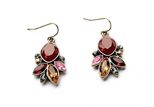 Faceted Red Earrings with Orange, Yellow and Pink Resin Accents Goldtone Earwire Earrings