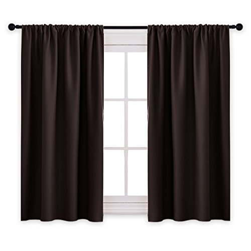 PONY DANCE Blackout Curtain Panels - Kitchen Room Darkening Short Blackout Curtains Home Decoration Window Coverings Top Rod Pocket, W 42