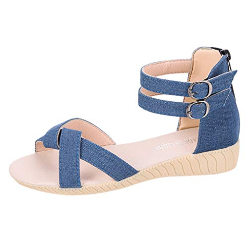 (FengGa Women's Flat Sandal Solid Color Wild Lace Sandals Double Buckle Adjustable Summer Lightweight Soft Beach Shoes)