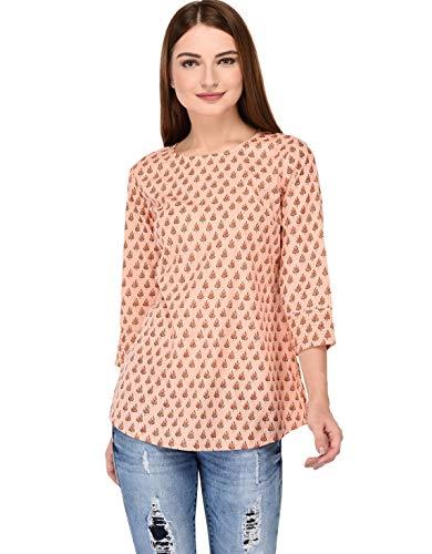 Amayra Women's Cotton Straight Short Kurti  Peach