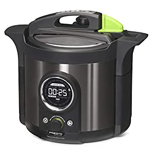 Presto 02142 Precise 6-Quart Multi-use Programmable Plus Electric Pressure Cooker, 6qt, Black Stainless Steel 12