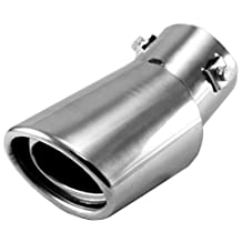 SODIAL(R) Universal Drop Down Car Exhaust Tail Pipe Silencer Muffler Tip (Silver)