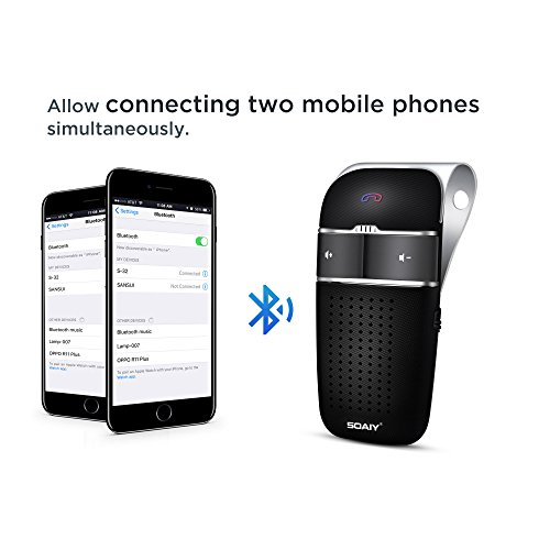 SOAIY S-32 Voice Command Hands-Free Bluetooth in-car Speakerphone, Wireless Bluetooth Car Kit for Safely Driving with Shake Power On Function by SOAIY (Image #4)