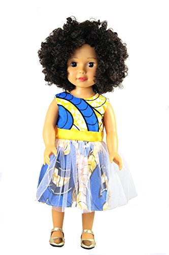 Ikuzi Doll, African American 18 inch Light Brown Skin Doll with Afro (Doll Light Skin)