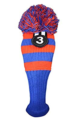 Majek Golf Club #3 Orange Blue Limited Edition Fairway Wood Cover Tour Knit Retro Vintage Pom Pom Classic Long Neck Metal Longneck Woods Headcovers