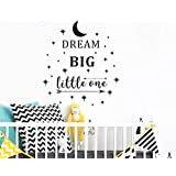 Dream Big Little One Wall Decal, Wall Sticker Quote, Nursery Wall Decal, Removable Vinyl Stickers for Children Baby Kids Boy Girl Bedroom (A24) (Black)
